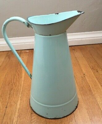 Vintage French Enamel Pitcher Water Jug Green Teal Antique Art Deco 1920