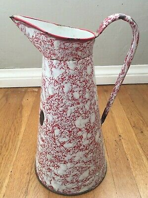 Vintage French Enamel Pitcher Water Jug White Red Marble Antique Art Deco 1920