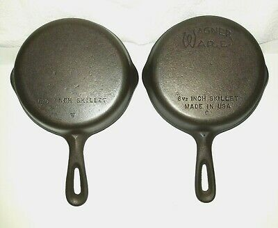 """(2) Vintage Cast Iron WAGNER WARE 6 1/2"""" Skillet 1-With """"C"""" logo 1 Unmarked"""