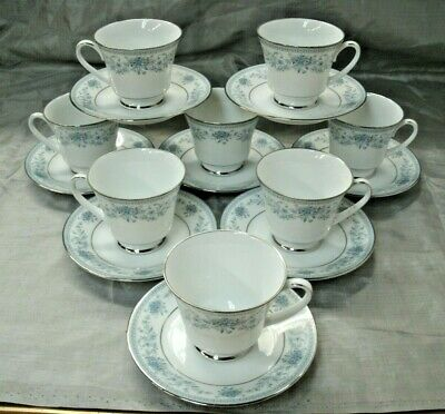 Noritake Contemorary BLUE HILL 4 Tea Coffee Cup & Saucer Sets Fine China EUC