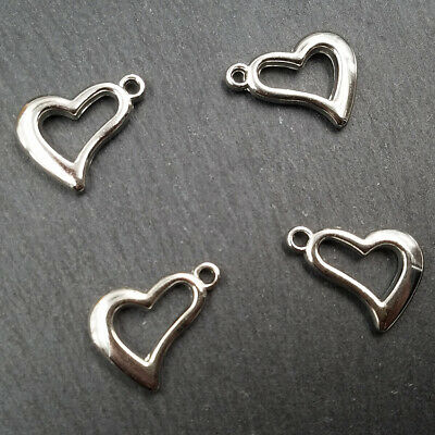 Hollow Free Irregular Heart Silver Plastic Pendants Findings Loose 50pcs Acrylic