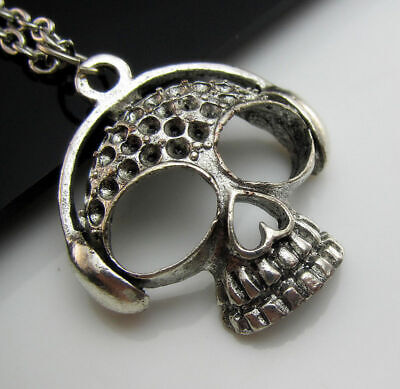 Charm Punk Necklace Tibetan Free Silver chain Rock Music Pendant Skull Listen