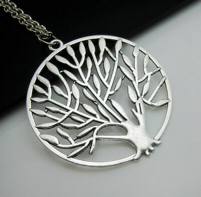 Charm Necklace Totem Free LIFE Gift OF Pendant Silver chain TREE Hollow Tibetan