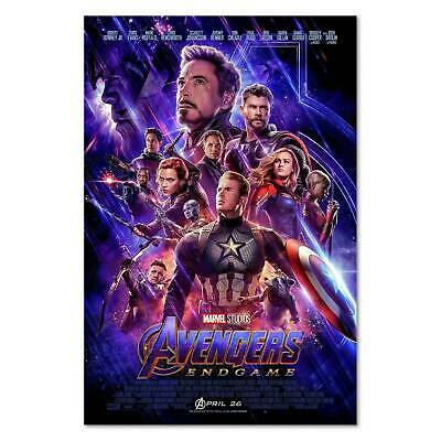 Avengers 4 End Game Movie Poster Art  12x18 24x36 27x40in Decor  Canvas