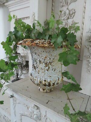 AWESOME Shabby Old Vintage Cast Iron METAL Garden URN Salvaged TOP Chippy WHITE