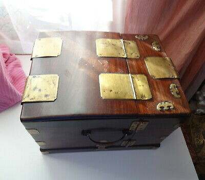 Antique 18th C Chinese Rosewood Huanghuali Jewelry Cosmetic Mirrored Box