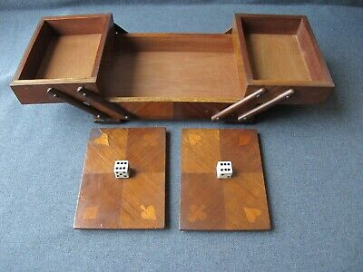 Antique bovine bone dice knobs suit marquetry wooden gambling poker fold out box