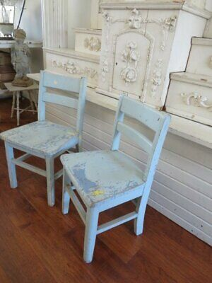 OMG 2 Old Vintage WOOD CHILDREN'S CHILD CHAIRS Original Chippy  BLUE PAINT