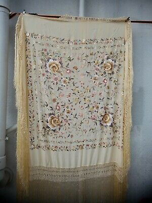 Antique Chinese Hand Embroidered double sided Silk Piano Shawl 55x55 22in Fringe