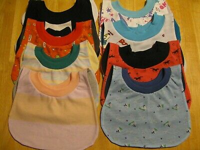 """8 Toddler Bibs 14-15"""" inch Pull Over Head special needs drool cotton polyester"""