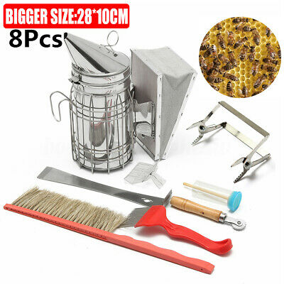 8in1 Large Stainless Steel Electric Bee Hive Smoker Fumes Beekeeping Equipment