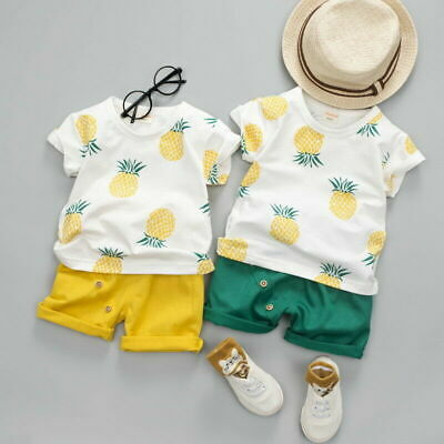 Cute Infant Toddler Baby Boy Summer T-shirt+Shorts Outfits Pineapple Clothes New