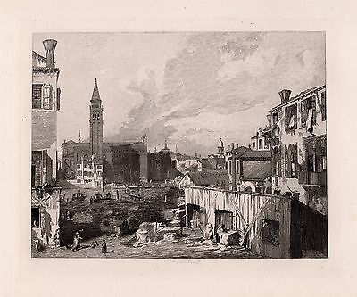 """Impressive CANALETTO 1800s Antique Etching """"A View in Venice"""" Framed Signed COA"""