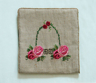 ANTIQUE EMBROIDERED ARTS & CRAFTS LINGERIE/HANKY HOLDER ~ LINEN & SILK ~ c. 1910
