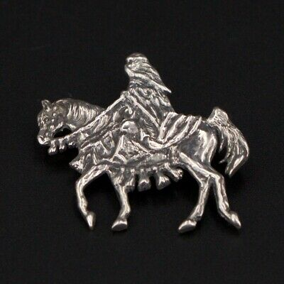 VTG Sterling Silver Signed ANA Native Arabian Costume Show Horse Brooch Pin - 7g