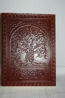 Tree of Life Hand crafted Leather Book of shadows spells Journal Keepsake