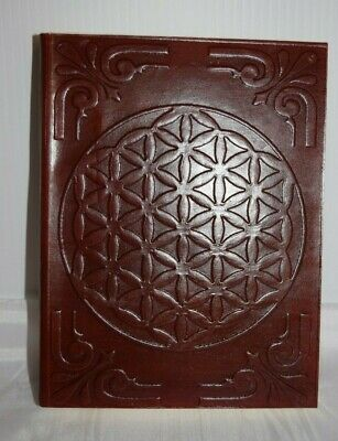 Flower of Life Hand crafted Leather Book of shadows spells Journal Keepsake grid