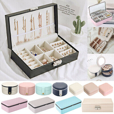 PU Leather Jewelry Storage Box Travel Case Holder Earring Necklace Organizer UK