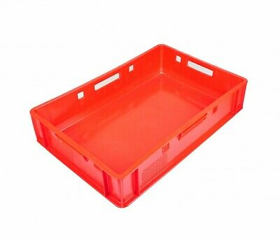 5x Euro Meat Box Red E1 Butcher's Box Meat Stackable Meat Tray