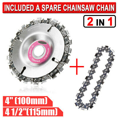 "4"" 4.5"" 2 In 1 Angle Grinder Disc 22 Tooth Chain Saw Blade Carving Wood Tool"