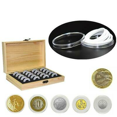 100pcs Capsules Wooden Coin Storage Container Collection Box Case Collectible
