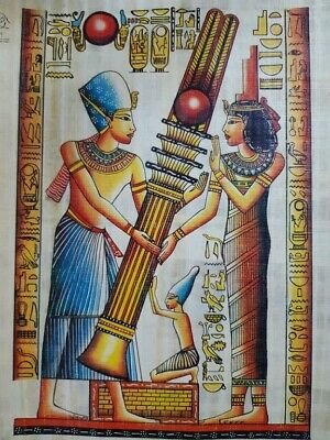 Pharaoh Kings Papyrus Hand Painted Egyptian Art Picture Vintage Made in Egypt