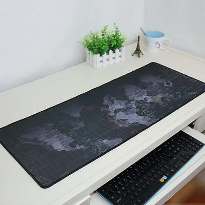 Black Extended World Map Gaming Mouse Pad Keyboard Pad Full Desk Mat 90X40CM