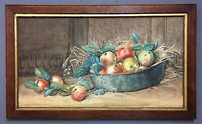 Large Antique 19th Century Victorian Still Life Painting, Signed