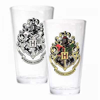 Official Harry Potter Hogwarts Crest Colour Changing Straight Drinking Glass Hmb