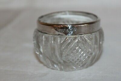 Antique Cut Glass & Silver Rim Salt / Mustard  Dish Hm London 1904