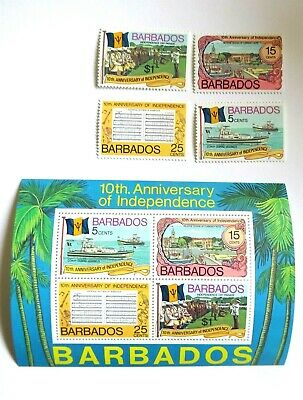 BARBADOS 1976 SG 569/572 MS 573 10th ANNIV OF INDEPENDENCE MNH UM