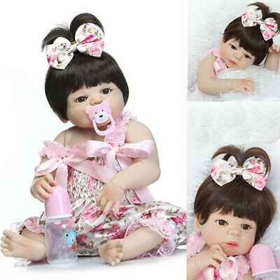 "22"" Full Body Soft Silicone Reborn Dolls Newborn Girl Cloth Lifelike Realistic"