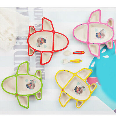 Toddlers Airplane Tableware Multicolor Plate Food Tray With Spoon Fork Dishes BS