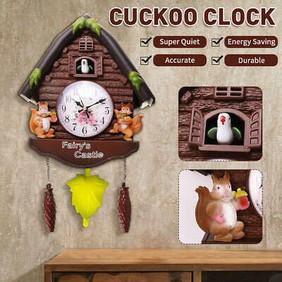 Vintage Cuckoo Clock House Tree Style Wall Clock Resin Art Vintage Home Decor