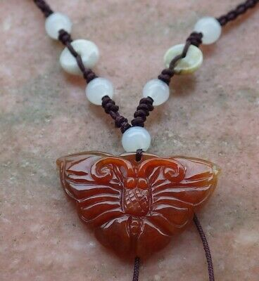 Certified Brown Red Natural A JADE JADEITE PENDANT Butterfly Coin 大展宏图 321083