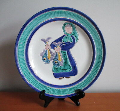"""Elle Pottery Norway Plate 11 1/4"""" Woman Fish Green Blue Signed MCM Scandinavian"""