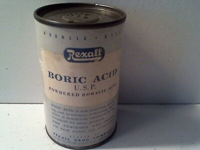 Vintage Rexall Powdered Boric Acid Cardboard Tin Can - 4 Oz.