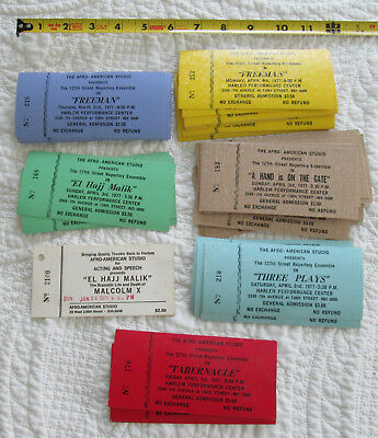 Lot of about 100 unused Afro-American Studio Harlem theatre tickets from 1977