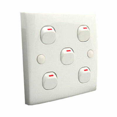 White Square 5 Gang Button Light Switch Unit Wall Plate