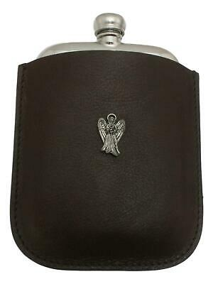 Angel Flying Pewter 4oz Kidney Hip Flask In Leather Pouch FREE ENGRAVING 005