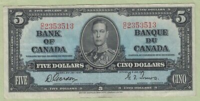 1937 Bank of Canada 5 Dollar Note - Gordon/Towers - O/C2353513 - VF