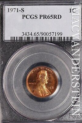 1971-S Lincoln Memorial Cent - Pcgs Pr65Rd - Proof!!  #Sle426