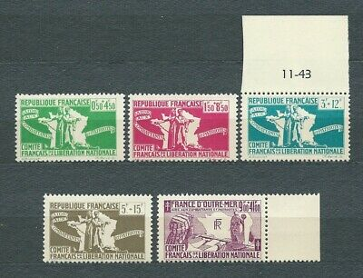 FRANCE LIBRE - 1943 YT 1 à 5 - TIMBRES NEUFS** MNH LUXE
