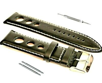 Genuine Luxury Calf Leather 3 Hole GP Race Rally Watch Strap Black 20 22 24mm