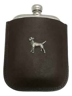 Border Terrier Pewter 4oz Kidney Hip Flask Leather Pouch FREE ENGRAVING 37