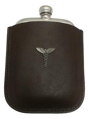 Caduceus Staff Pewter 4oz Kidney Hip Flask Leather Pouch FREE ENGRAVING 53