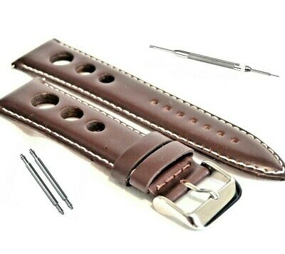 Genuine Luxury Calf Leather 3 Hole GP Race Rally Watch Strap Brown 20 22 24mm