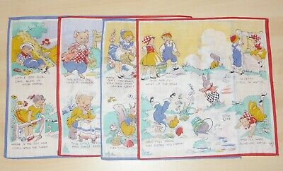 4 x VINTAGE 1960's UNUSED HANDKERCHIEFS- ASSORTED NURSERY RHYMES (RENE CLOKE)