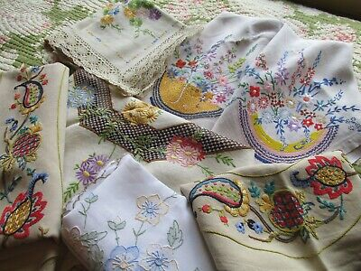 Vintage Bundle of Hand Embroidered Tablecloth/Linens-Projects/Repair