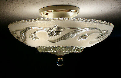 30's GLASS Antique VIntage Flush Ceiling Light FIxture CHANDELIER SET AVAILABLE